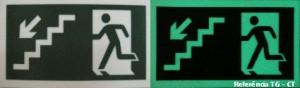 Placa de sinalização fotoluminescente em PS